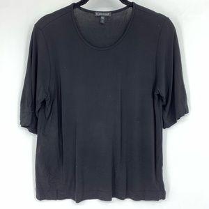 Eileen Fisher Black 100% Silk Boxy Tee Shirt